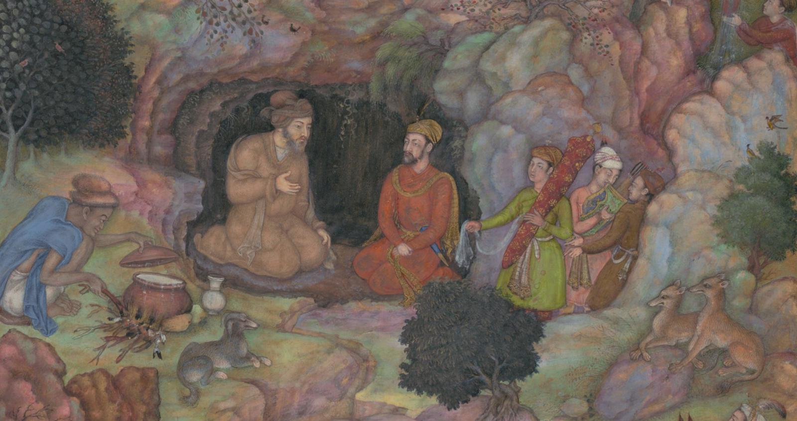 """Alexander Visits the Sage Plato in his Mountain Cave"" (detail), Folio from a Khamsa (Quintet) of Amir Khusrau Dihlavi (1597-98). Photo: © Metropolitan Museum of Art, New York."