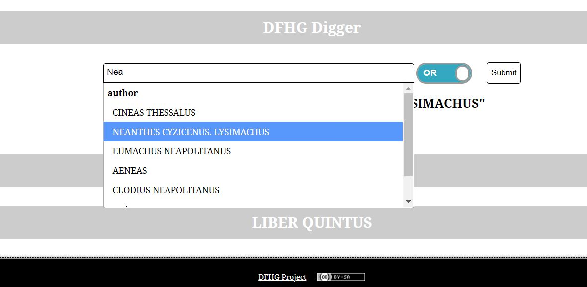 "The DFHG ""digger"" offers autocomplete dropdown for searching individual authors and works."