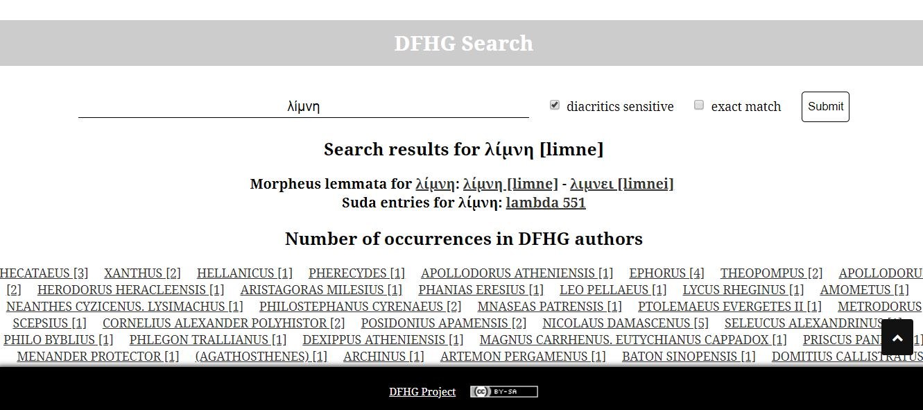 Shift+click on a word creates a new page with all instances of that lemma in DFHG