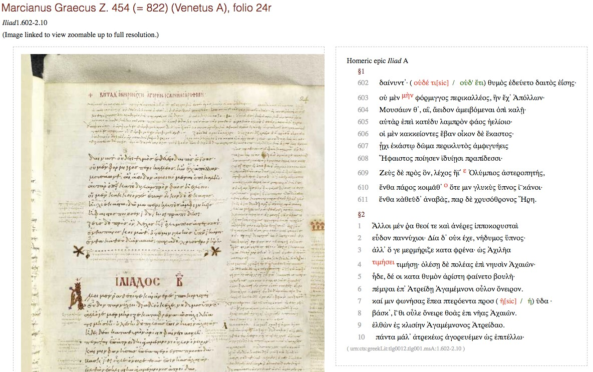 A search for Iliad 2.1 in Venetus A produces folio 24r, containing Iliad 1.602-2.10, accompanied by a diplomatic transcription (including variants).