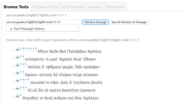 Iliad 1.1-7, viewed on the Browse Texts tool.