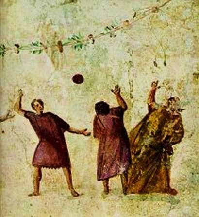 """Harpastum"", a form of ball game played in the Roman Empire. Fresco, circa 100 BC - 400 AD. Image via Wikimedia under Public Domain."