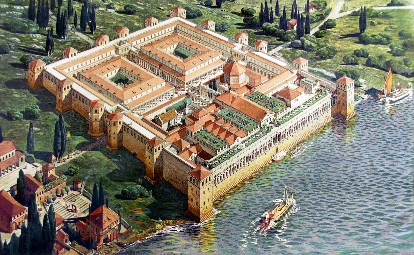 Hébrard, Ernest. Illustration depicting the Palace of the Roman Emperor Diocletian in its original appearance, 1912. Image via Wikimedia under Public Domain.