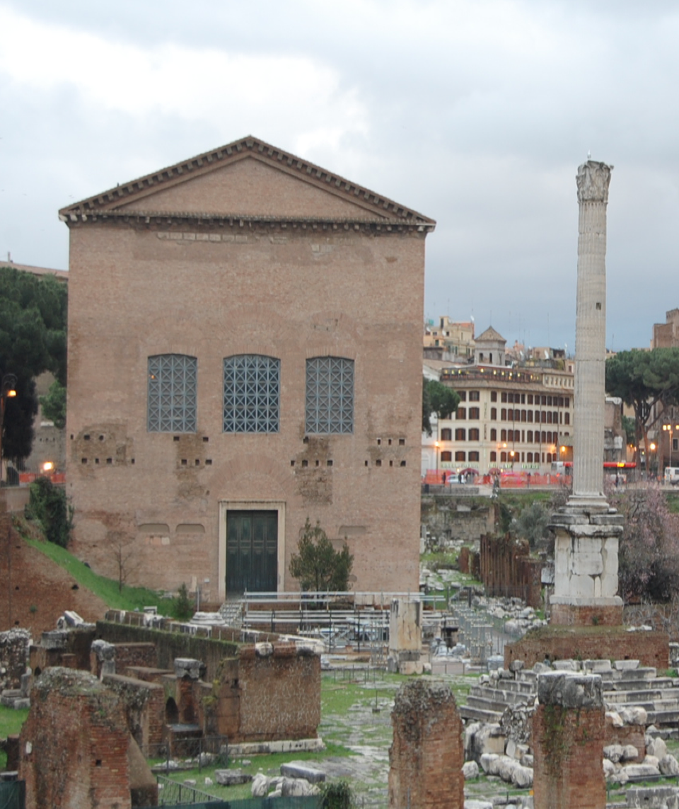 Photo of the Curia Julia in the Roman Forum, as reconstructed by Diocletian in the 3rd century CE and then later added onto by Theodoric. In the early middle ages, it was turned into a consecrated Church, which preserved the structure quite well until Mussolini rebuilt it in the early 20th century as a symbol of his Roman renaissance. Photo by Sarah E. Bond.