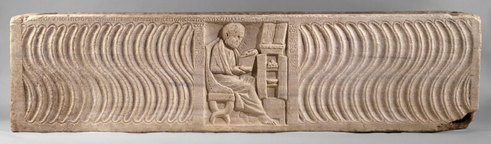 Sarcophagus of a Greek physician reading a scroll from his personal library. 4th c. CE. Marble. Metropolitan Museum of Art, 48.76.1. Licensed under CC BY 1.0.