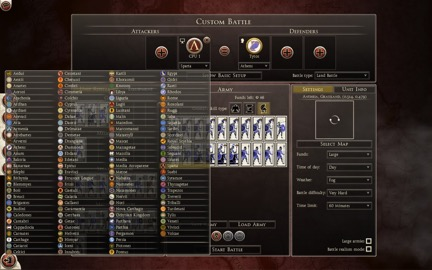 The many options presented to the user designing a custom battle in Total War.