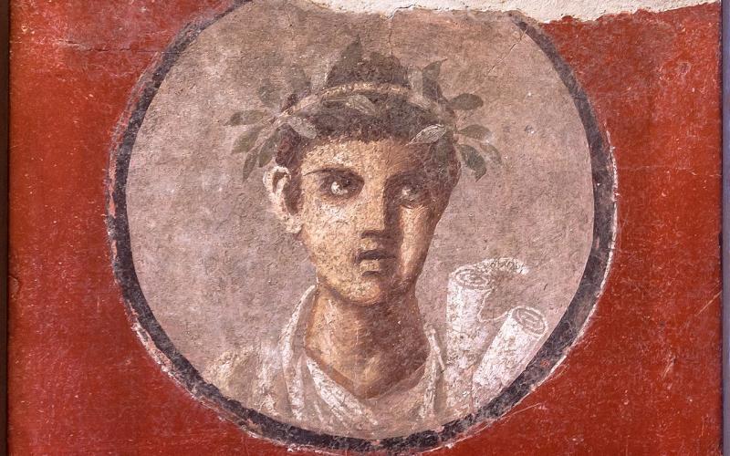 Young man with a volumen, fresco from Pompeii, 1st c.C.E., Naples.
