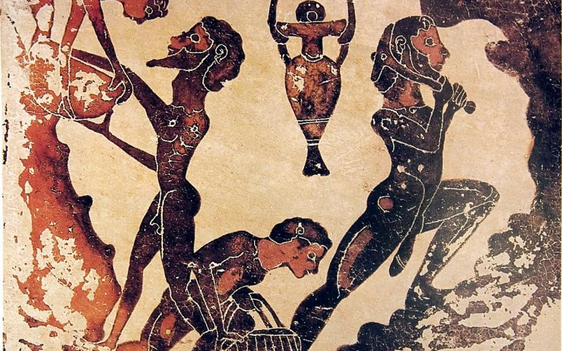 Corinthian black-figure terra-cotta votive tablet of slaves working in a mine. One figure is passing a bowl to another, one is carrying a basket, and one is wielding a tool.