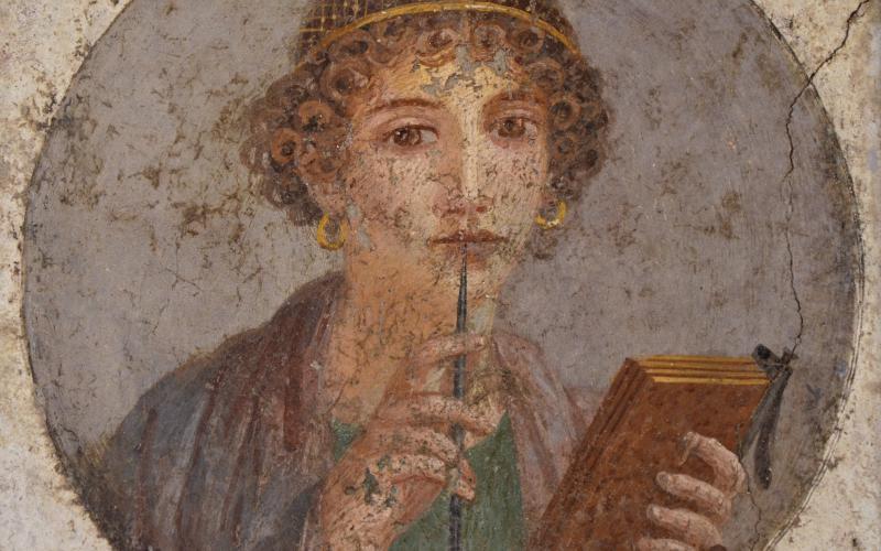 So-called Sappho fresco from Pompeii