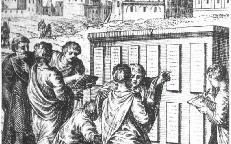 Roman civilians examining the Twelve Tables after they were first implemented.