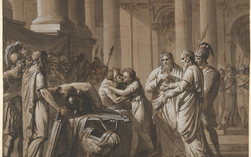 Scene from Roman History, depicting a Youth receiving Armor from a Dying Man