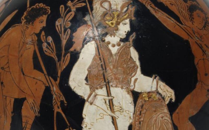 Header Image: Athena looks on as Oedipus slays the Sphinx (Attic red-figured lekythos, 420-400 BCE now at the British Museum).