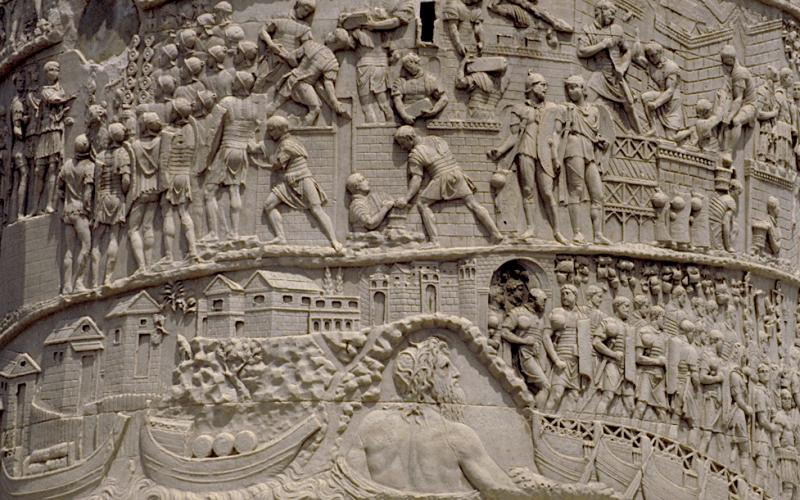 Trajan's Column: detail of frieze reliefs (image via Flickr by MCAD under a CC BY 2.0)