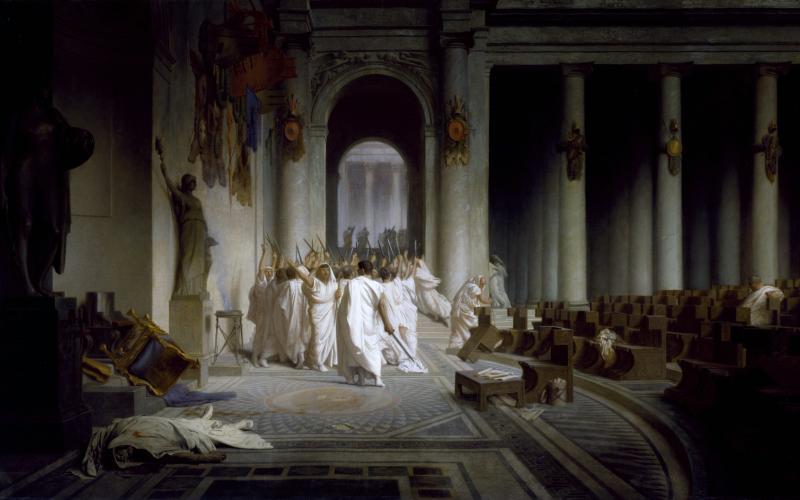 The Death of Caesar, Jean-Léon Gérôme, 1867. Image courtesy of Wikimedia Commons.