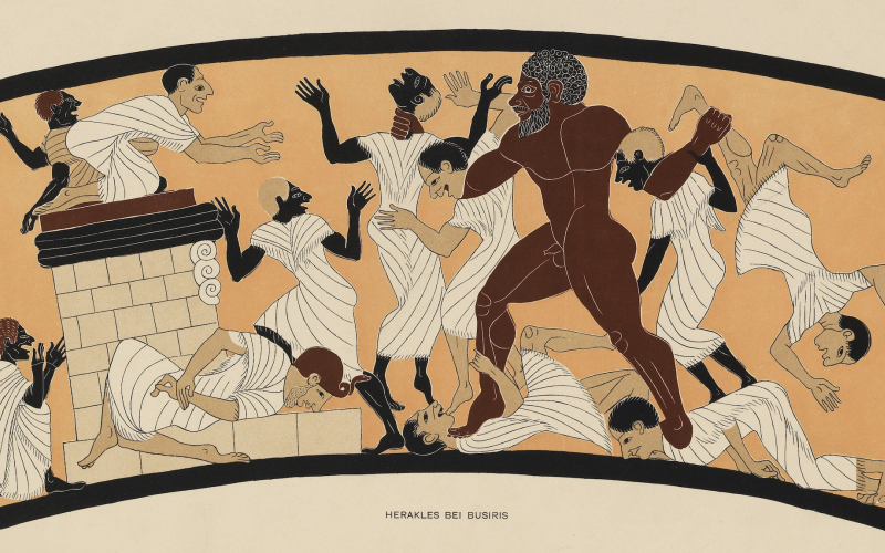 A large, brown-skinned man, nude with a beard, stands amid a group of smaller men in togas. He is standing on some men and holding others in his hands.