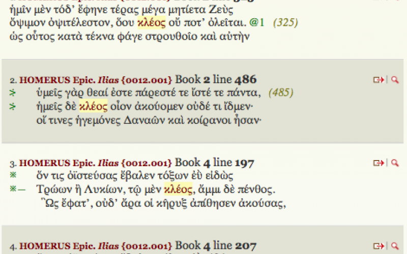 Detail of Entry for κλέος in the TLG Word Index