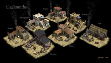 Some of the blacksmith buildings for the video game 0 A.D (Image via Wikimedia under a CC BY-SA 3.0 by Wildfire Games).