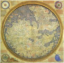 Fra Mauro map of the world. A circular map depicting Asia, Africa, and Europe.