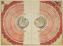 Figure of the heavenly bodies - Illuminated illustration of the Ptolemaic geocentric conception of the Universe by Portuguese cosmographer and cartographer Bartolomeu Velho (?-1568). From his work Cosmographia, made in France, 1568 (Public Domain).