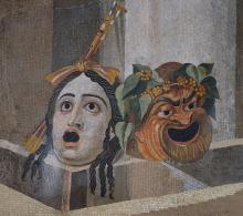 Mosaic depicting theatrical masks of Tragedy and Comedy