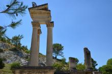 Partial reconstruction of one of the geminated temples which opened onto the forum, Glanum