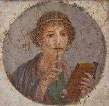 So-called Sappho fresco from Pompeii