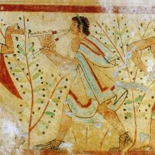 Dancers and musicians, tomb of the leopards, Monterozzi necropolis, Tarquinia, Italy. UNESCO World Heritage Site. Fresco a secco. Height (of the wall): 1.70 m. 475 BCE. from Le Musée absolu, Phaidon, 10-2012, photographer Yann Forget. CC By 1.0.