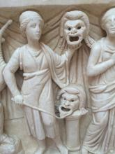 Detail of Thalia from the Sarcophagus of the Muses, late 2nd century CE, Thassian marble, Archaeological Museum of Ostia. Photo taken by Krishni Burns, unpublished.