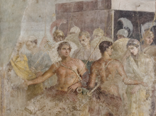 Header: Achilles cedes Briseis to Agamemnon, from the House of the Tragic Poet in Pompeii, fresco, 1st century CE (Naples National Archaeological Museum. Image via Wikimedia and is in the Public Domain)