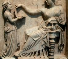 Gravestone of a woman with her attendant (100 BCE). Getty Villa (Image via Wikimedia under a CC-BY-SA 3.0 License).