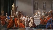 Vincenzo Camuccini. The Assassination of Julius Caesar, between 1804 and 1805. Oil on canvas. Galleria Nazionale d'Arte Moderna e Contemporanea.
