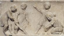 Children playing ball games, 2nd century AD. Image courtesy of Wikimedia Commons.
