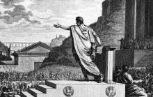 Gaius Gracchus addressing the plebeians. Image courtesy of Wikimedia Commons.