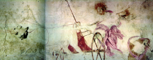 Hades abducting Persephone. Fresco in the small royal tomb at Vergina, Macedonia, Greece. 340 BCE.
