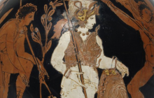 Header Image: Athena looks on as Oedipus slays the Sphinx (Attic red-figured lekythos, 420-400 BCE now at the British Museum).