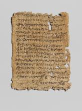 Title: Papyrus in Greek regarding tax issues (3rd ca. BC.)  Currently in the Metropolitan Mueum of Art. https://www.metmuseum.org/art/collection/search/251788 Source: Wikipedia Commons https://commons.wikimedia.org/wiki/File:Papyrus_in_Greek_regarding_tax