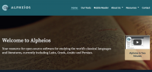 The homepage of Alpheios