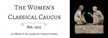 Banner of the Women's Classical Caucus, est. 1972