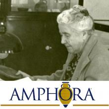 Prof Macurdy working in special collections area ca. 1940 photograph