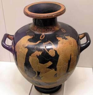 Sappho reading one of her poems to a group of friends. Red-figure vase by the Group of Polygnotos, ca. 440–430 BCE. National Archaeological Museum in Athens.