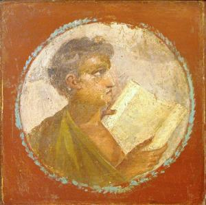 Roman portraiture fresco of a young man with a papyrus scroll, from Herculaneum, 1st century AD. Image courtesy of Wikimedia Commons.