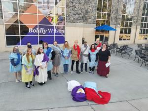Dr. Rock-McCutcheon and the cast of Antigone for Arts Day 2019 at Wilson College. Image courtesy of Bonnie Rock-McCutcheon.