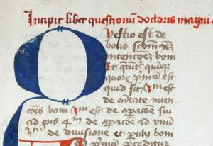 Albertus Magnus, De Bono. Folium 1r. Cologne, Library of the Dome, Codex 1024 (detail). From Wikimedia Commons. Public Domain.