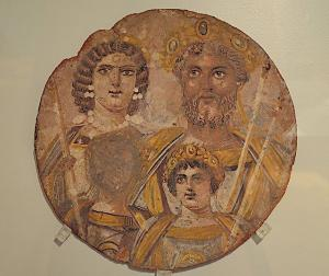 Tondo showing the Severan dynasty: Septimius Severus with Julia Domna, Caracalla and Geta, whose face has been erased, probably because of the damnatio memoriae put against him by Caracalla, from Djemila (Algeria), circa AD 199-200, Altes Museum, Berlin.