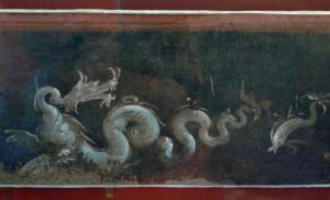Header Image: Detail of a fresco from the Temple of Isis, representing a sea dragon and a dolphin, 1st century AD (Fourth Style), Museu Nacional, Brazil (Image via Wikimedia under a CC-BY-SA 4.0).