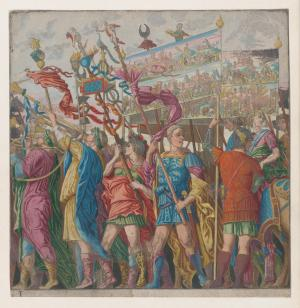 Soldiers carrying banners depicting Julius Caesar's triumphant military exploits, from The Triumph of Julius Caesar