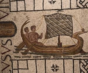 Header Image: Late antique mosaic likely depicting Theseus sailing away from the Labyrinth (Utica, Tunisia, 3rd C CE, now at the University of Pennsylvania Museum of Archaeology and Anthropology. Image by Sarah E. Bond).