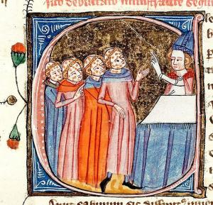 14th century illustrated manuscript of Omne Bonum (by James le Palmer – British Library MS Royal 6 E. VI, fol. 301ra); it shows a bishop instructing clerics with leprosy.