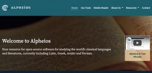 The homepage of Alpheios