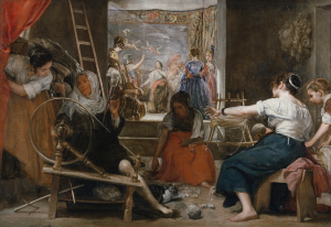 A painting of four women sitting in a room weaving. One woman is spinning wool, two are arranging wool, and one is picking up tools off the floor. In the background is another room filled with women.